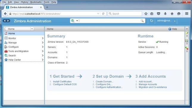 Zimbra Webmail Admin