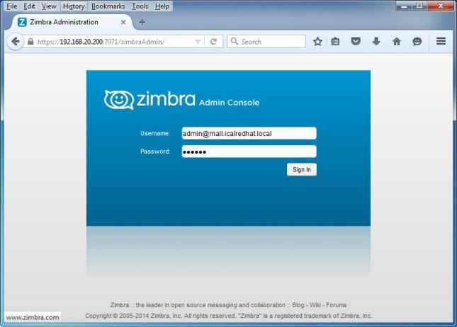 Zimbra Mail Server [Admin Page]