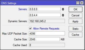 Setting IP DNS MikroTik