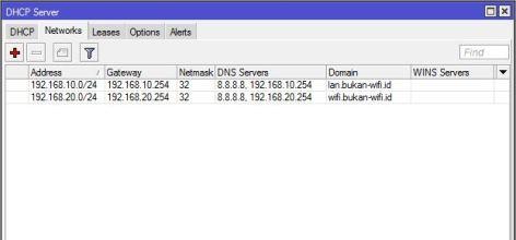 Setting DHCP Server Network MikroTik