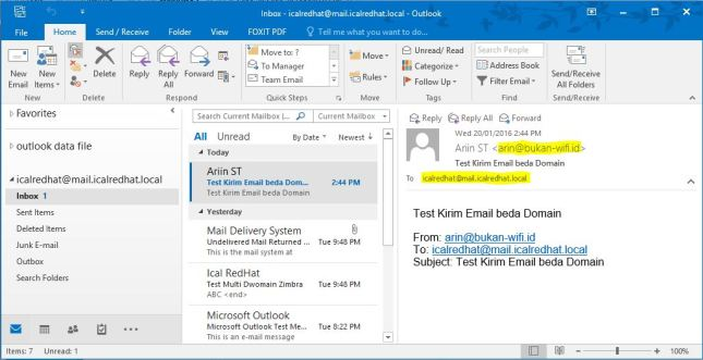 Lihat inbox email di Outlook